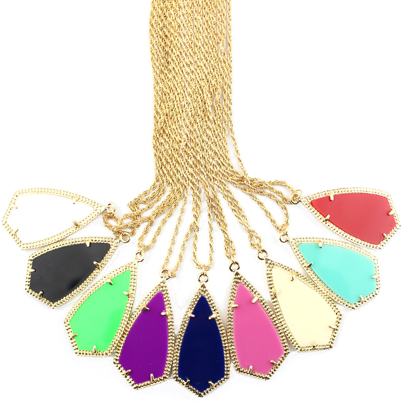 2016 Hot Sale Brand Designer Fashion Classic Golden Frame Dagger Geometric Long Necklaces & Pendants Jewelry Wholesale