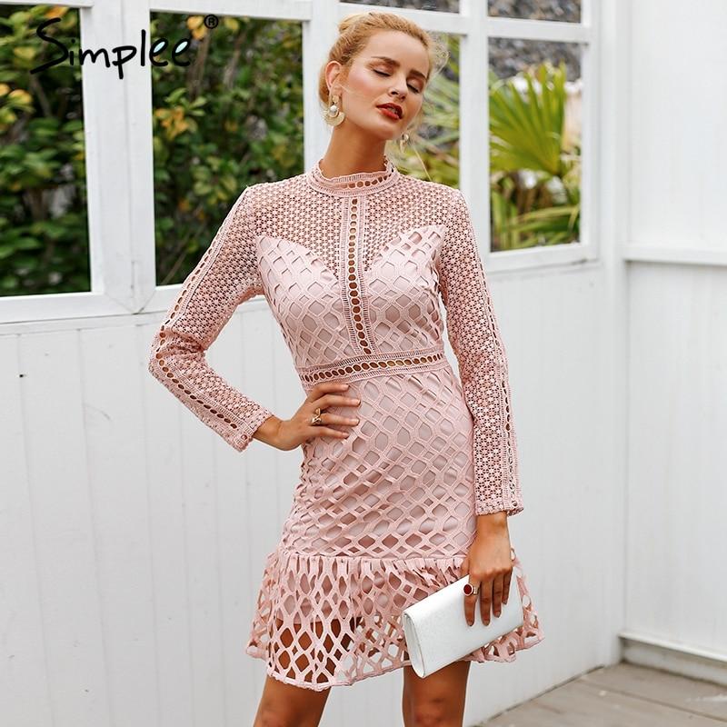 Simplee Elegant hollow out mesh lace women dress Ruffle slim autumn winter dress 2018 High waist long sleeve party sexy dressesDresses   -
