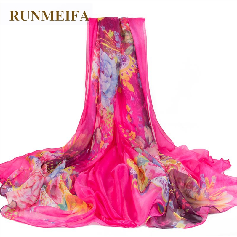 RUNMEIFA  Oversize Sunscreen Pareo Beach Shawl Beach Scarf Pareo Summer Chiffon Flower Print Silk Scarf Women Luxury Brand Scarf