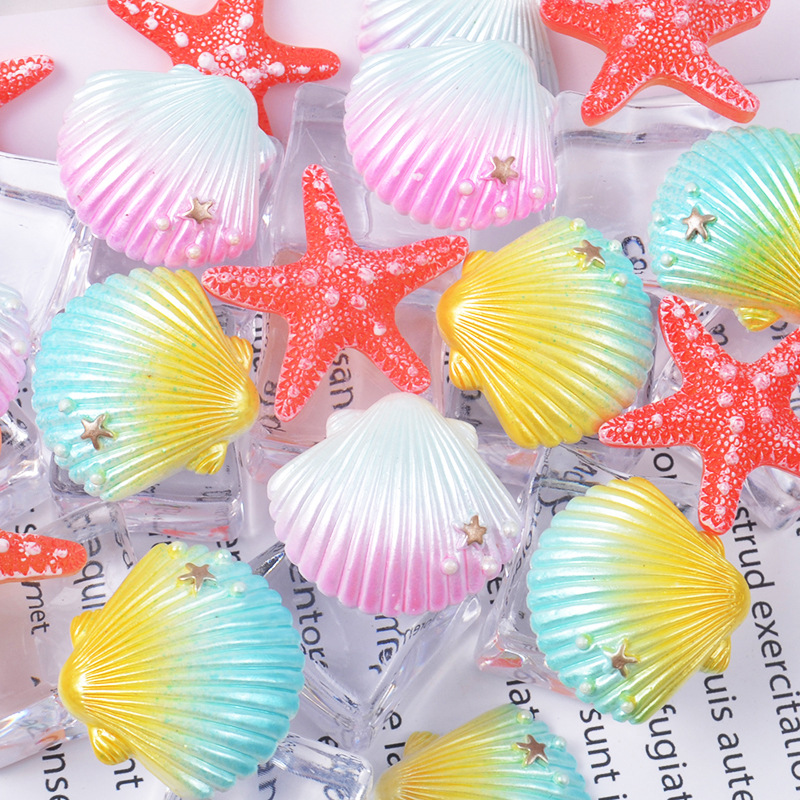 5pc set Resin Painted Seashells Colorful Starfish Shell for Crafts Making Sea Decoration Shell Crafts Aquarium Fish Tank Decor birthday cake