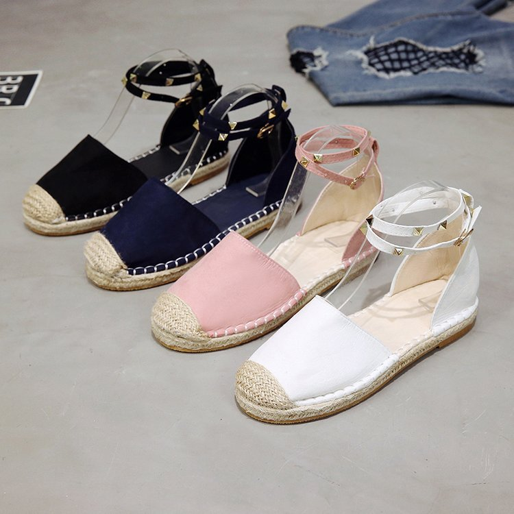 summer new espadrilles leather flat shoes woman rivet Singles shoes Straw hemp Rope fisherman shoe zapatos de muje Big size 43summer new espadrilles leather flat shoes woman rivet Singles shoes Straw hemp Rope fisherman shoe zapatos de muje Big size 43