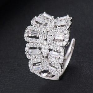 Image 5 - Missvikki El Yapımı Prong Ayarı AAA CZ Bileklik Açık Halka takı seti Lüks Muhteşem Geometrik Kadınlar için Gelin düğün takısı