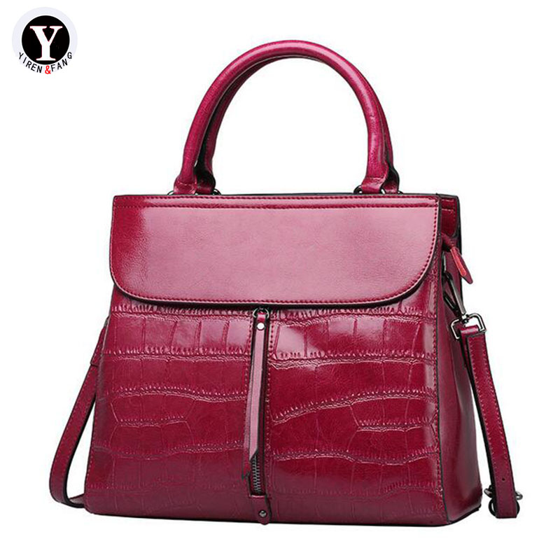 Yirenfang Genuine Leather Bags For Women Bag Big Fashion Stone Pattern Women Messenger Bags Retro 2018 Luxury Ladies Hand Bags