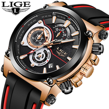 LIGE Men Watch Brand Luxury Sport Watches Man Silicone Strap Waterproof Analog Quartz Wristwatch Chronograph Military Clock Male