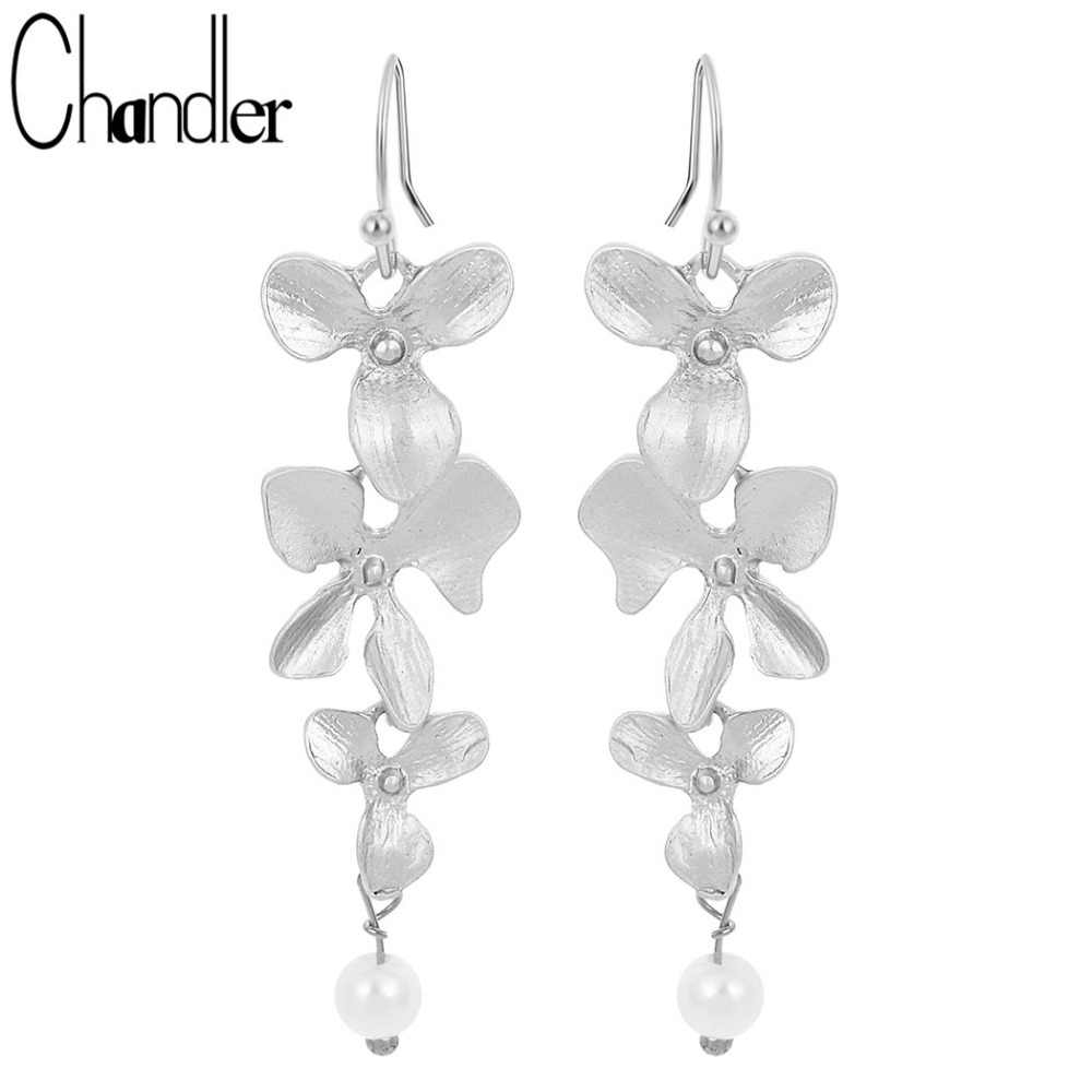 Vintage Korean Orchid Flower Faux Pearl Drop Earring Long Dangling Fashion Infinity Jewelry Elegent Gift For Girls Women Ladies