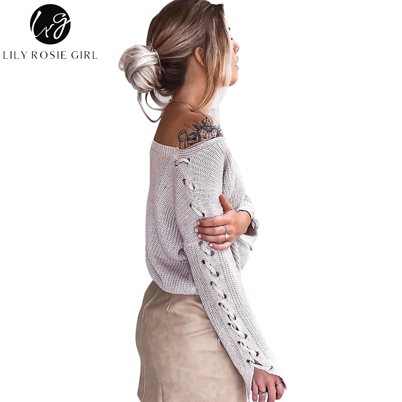 e680f28c10 Detail Feedback Questions about Lily Rosie Girl Sexy V Neck Lace Up Long  Sleeve Women Sweaters 2017 Autumn Winter Pullovers Grey Jumpers Knitted  Black ...