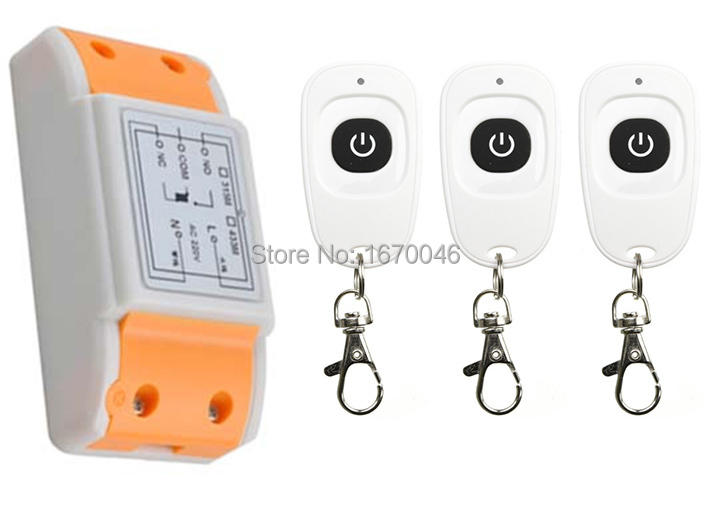 latest AC220V 1CH Wireless Remote Control Switch System Receiver &3pcs one-button waterproof Remote 315mhz/433mhz wireless service call bell system popular in restaurant ce passed 433 92mhz full equipment watch pager 1 watch 7 call button