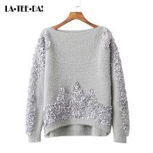 4627c7bd7821 LTD1198290 ELYB Nueva Jersey apliques 3D flores las mujeres suéter de  cachemira de visón Streetwear dama cuello barra Top Vestid.
