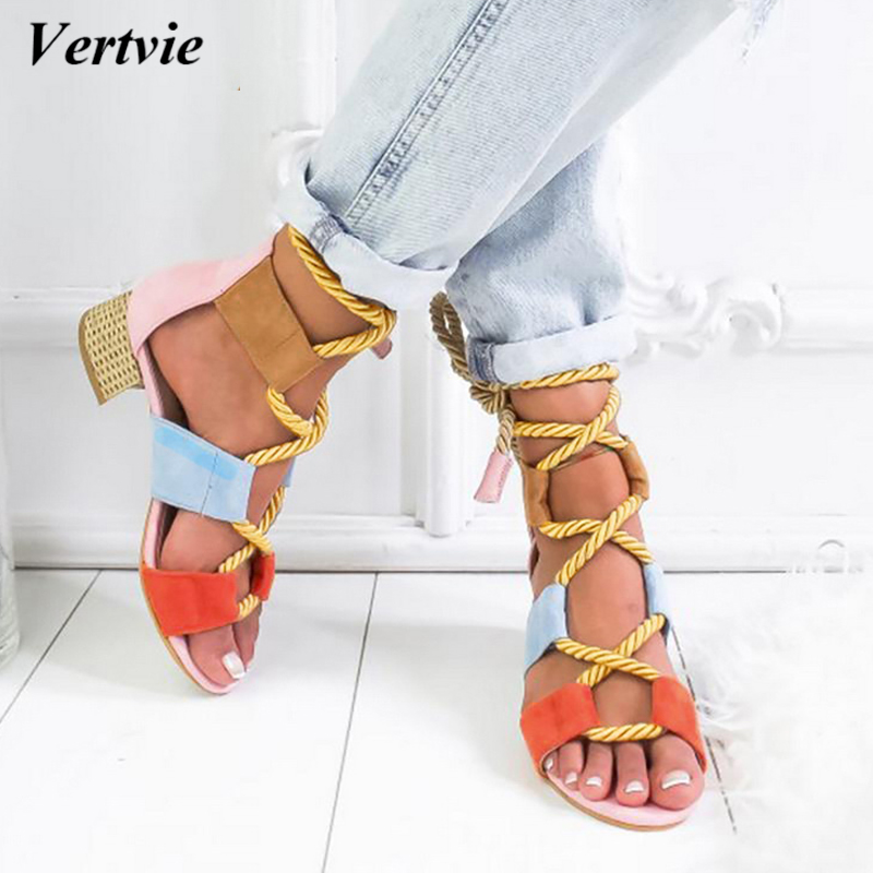 Vertvie 2019 Torridity Fashion Fasten Espadrilles Women Sandals Heel Pointed  Mouth Sandals Hemp Rope  Up  Sandal