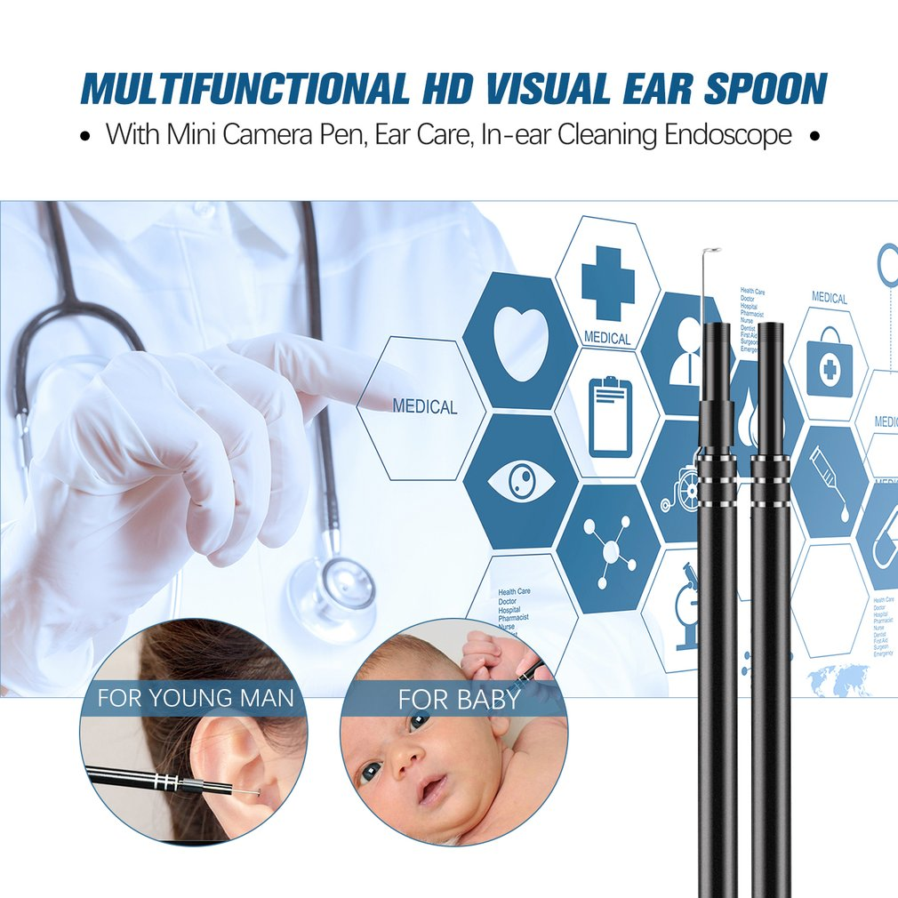 USB Ear Cleaning Tool HD Visual Ear Spoon Multifunctional Earpick With Mini Camera Pen Ear Care In ear Cleaning Endoscope in Ear Care from Beauty Health