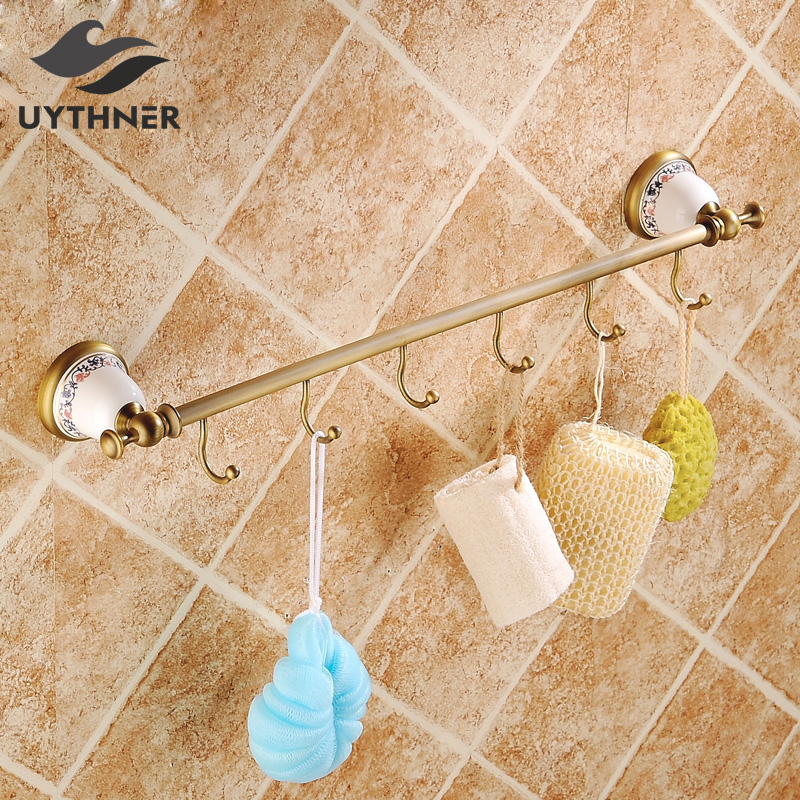 Solid Brass Bathroom Towel Rack Single Bar Carved Holder Antique Brass Bathroom Towel Holder Wall Mounted цена и фото