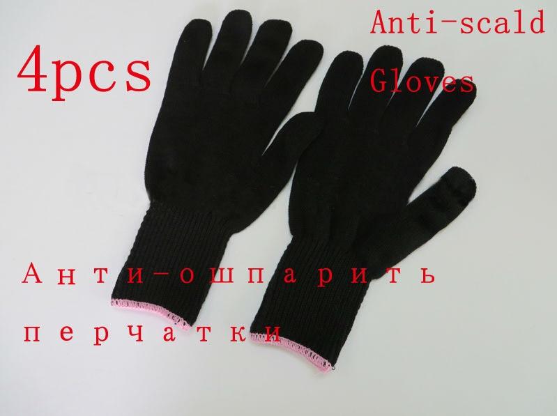 Δωρεάν αποστολή μαύρο κουρέλι ανθεκτικό στη θερμότητα προστατευτικό γάντι για τα μαλλιά ίσιωμα σίδερο σίδερο αξεσουάρ styling 4pieces / lot