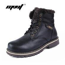 100% Genuine Leather Men Boots High Quality Plus Fur Men Winter Boots Super Warm Men Shoes Large Size Snow Boots