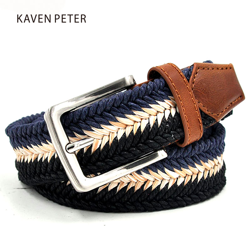 "Braided Cotton Soft Stretch Woven Comfort Casual Jean Mens Belts, 1-3/8"" Wide With Wax Rope And Straw Material Mixed Color"