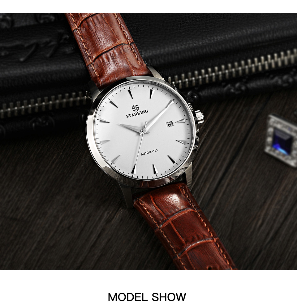 HTB1AI2Ck29TBuNjy0Fcq6zeiFXar STARKING Automatic Watches Men Stainless Steel Business Wristwatch Leather Fashion 50M Waterproof Male Clock Relogio Masculino