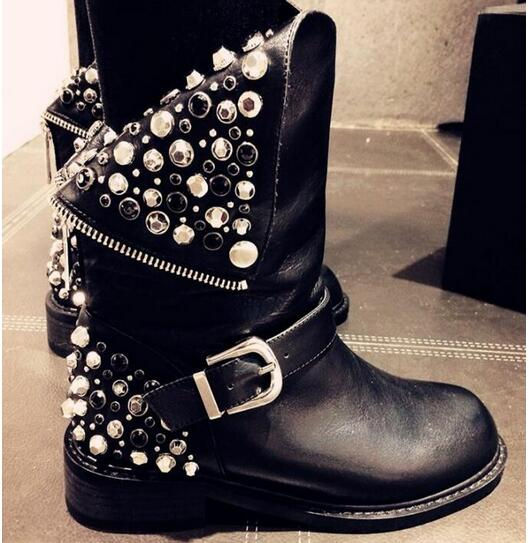 2017 Autumn Winter Top Selling High Quality Rivets Studded Riding Boots Back Zipper Crystal Round Toe Woman Ankle Leather Boots