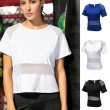 Womens Mesh Hollow Out Loose Workout Gym Yoga Athletic Sports Blouse Women Wear Smock Crop Top Running Sweatshirt T-shirts S~XXL