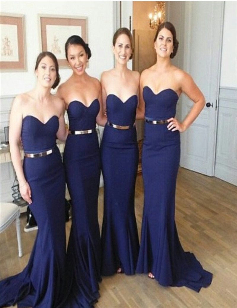 d2e491fbfb83 2016 New Arrival Sleeveless Sheath Floor Length Sweetheart Off Shoulder  Bridesmaid Gown Navy Blue Bridesmaid Dress Wedding Party