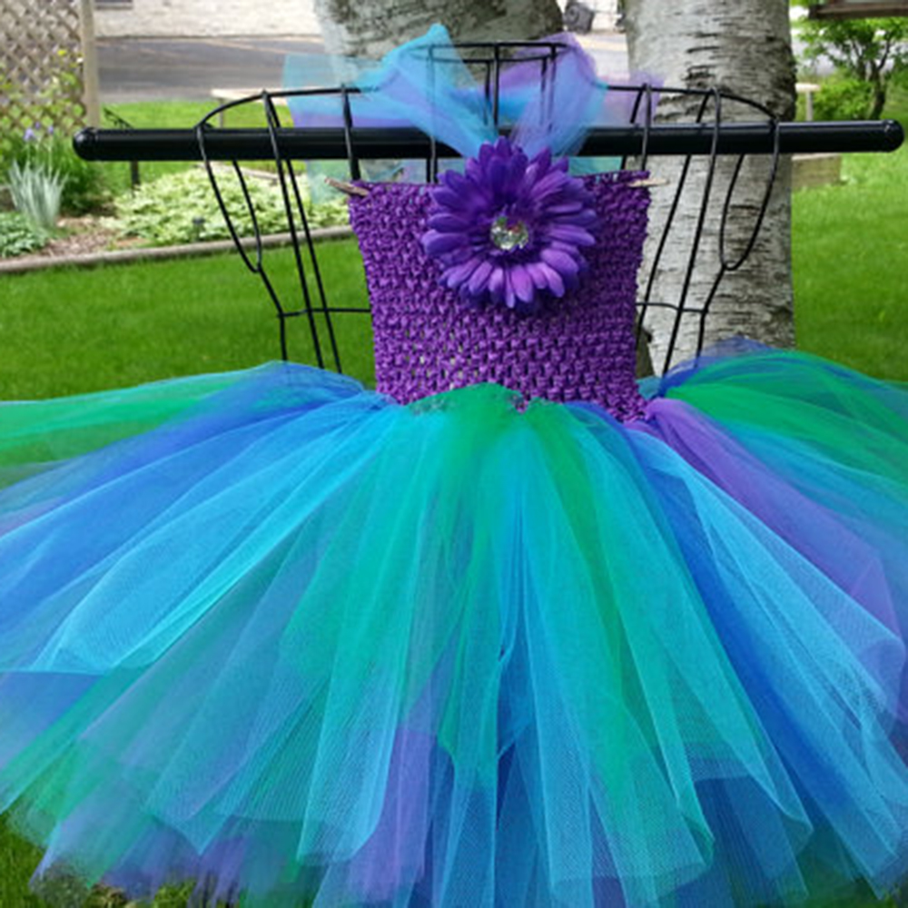 Cute Peacock Girl Tutu Dress Inspired Pageant Dresses for Little Girls Purple Turquoise Dress For Halloween Birthday Party PT33 petit dream ariel inspired princess girls dress little mermaid inspired birthday party dress for kids purple girls tutu dress