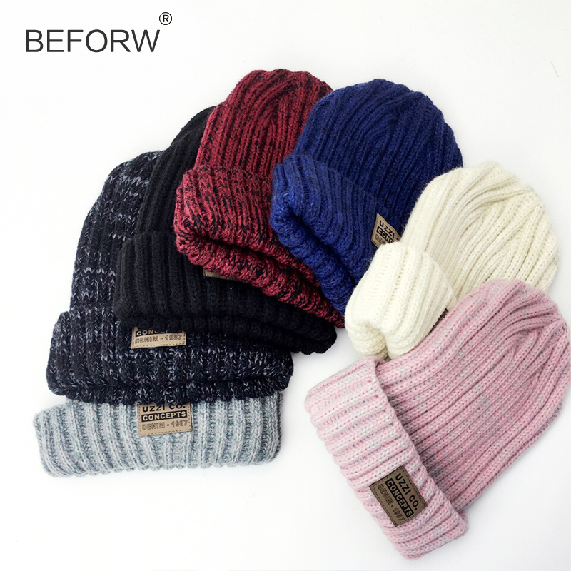 BEFORW Solid Design Skullies Bonnet Winter Hats For Women  Fashion Warm Cap Hat Girl 's Wool Hat Knitted Beanies Cap Casual