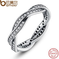 Original 925 Sterling Silver BRAIDED PAVE SILVER RING WITH CUBIC ZIRCONIA Compatible With Pandora Authentic Jewelry