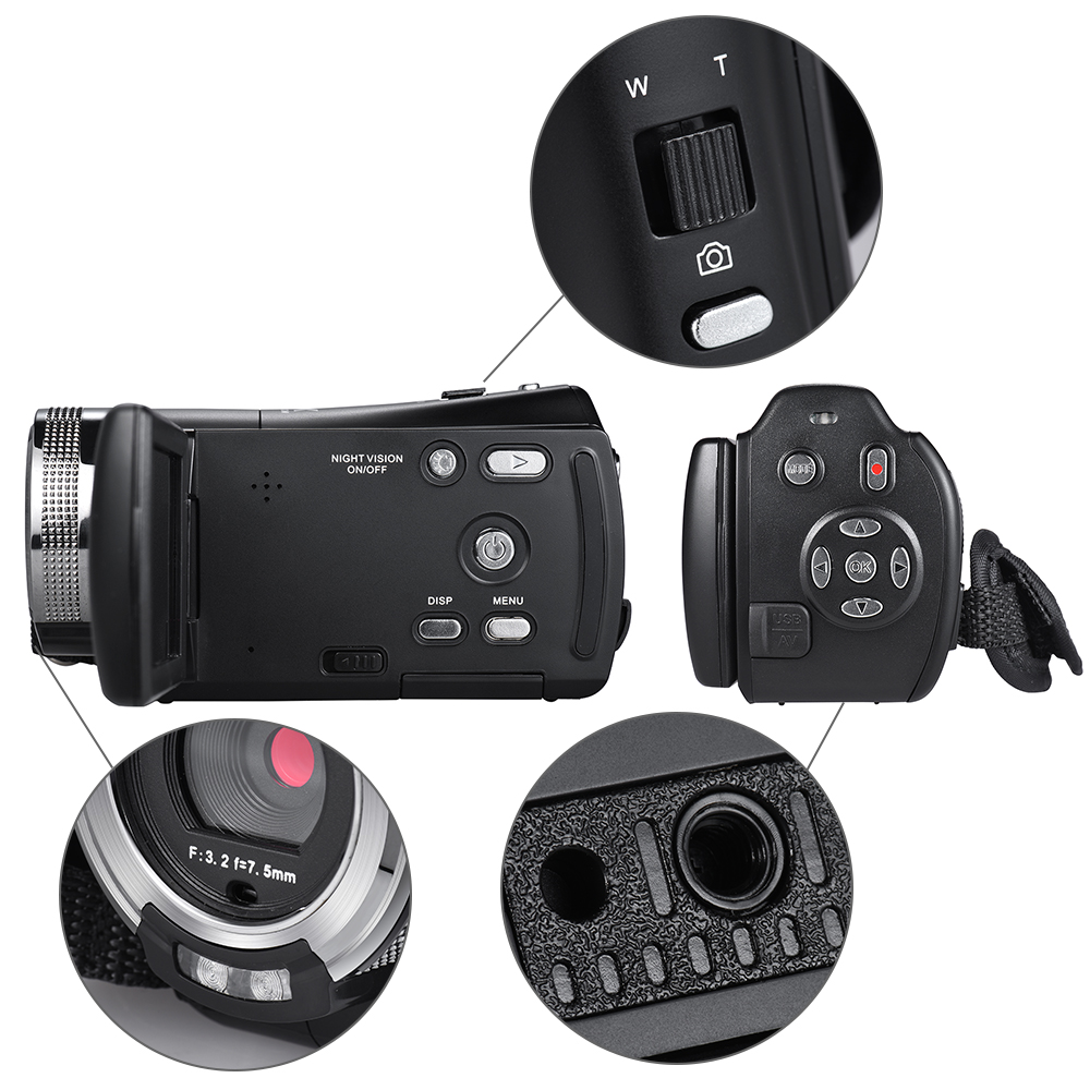 US $51 29 30% OFF|Andoer V12 Video Camera 1080P Full HD 16X Digital Zoom  Recording Camcorder w/3 0 Inch Rotatable LCD Screen Support Night Vision-in