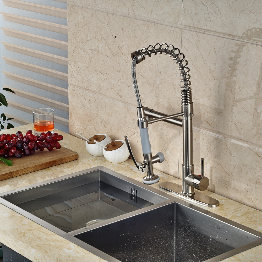 Luxury Nickel Brushed Kitchen Faucet Dual Spouts Vessel Sink Mixer Tap Plate