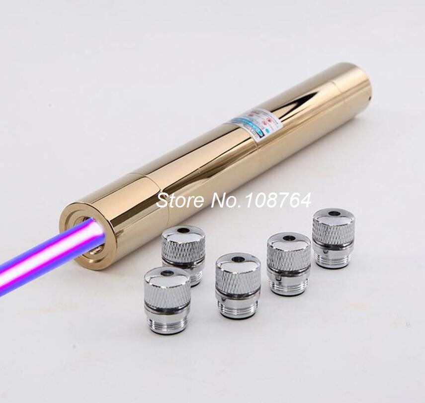 Высокая Мощность сильный луч 450nm 500000 м синий лазерная указка Pen фокус Lazer фонарик факел сжечь Бумага дерево + 5 звезда Шапки