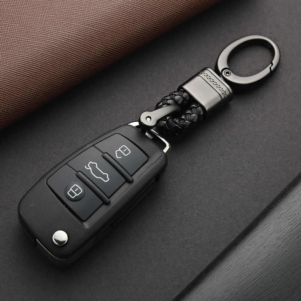 Tecidas À Mão Corda de couro Chaveiro Para Carro Ferradura Fivela Chave Anéis Casal Chaveiros Presente Auto De Metal Destacável Luxo K395