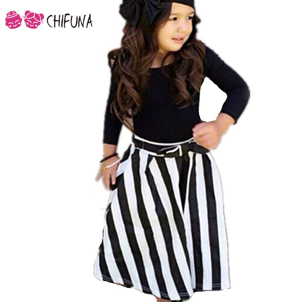 2017 New Fashion Kids Clothes Girls Sets Summer Spring Long Sleeve T Shirt And Striped Maxi Long Skirt 2 Piece Outfit Brand 2017 new style fashion mom and girls short sleeve letter t shirt dot black skirt set summer kids casual clothes parenting 17f222