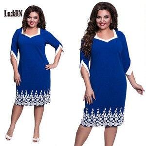 2018 Women Clothes Plus Size Dress New Lace Patchwork Big Sizes Fashion Dress Office Work Dresses Solid Blue Pink Vestidos L-6XL(China)