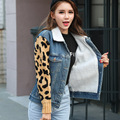 2017 New Women Autumn Short Lamb Jacket Leopard Print Sleeve Single-breasted Fashion Basic Coat Thicken Warming Outerwear