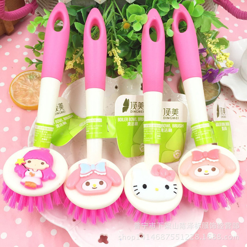 Cute Pan Pot Brush Bamboo Long Handle Dish Cleaning Brush Kitchen Pan Cleaner Household Cleaning Tools 1C
