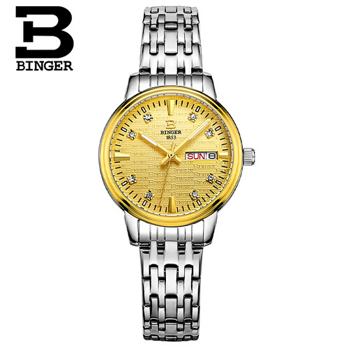 Switzerland Binger New Famous Top Brand Fashion Luxury Brand LOGO Watch Women Stainless Steel Watches Quartz Gold Clock Crystal geneva new hot sell stainless steel strap luxury gold analog wristwatch fashion quartz men watches brand binger clock watch