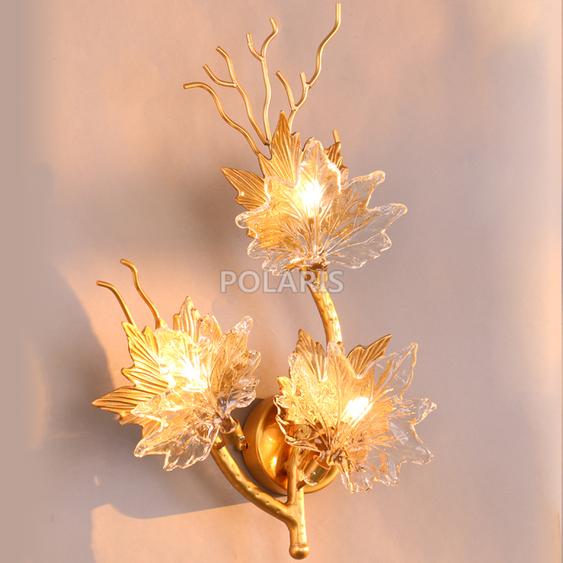 French Style LED Copper Wall Sconce Lamp Brass Wall Light Copper Wall Lighting for Home Hotel Living Dining Room Bed Room Decor