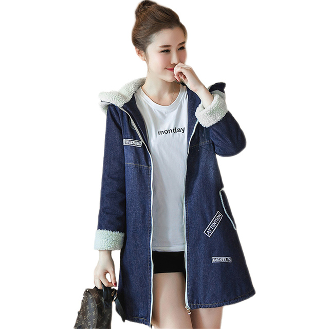 59cc1d136b98de Frauen Jeansjacke 2017 Neue Frühling Herbst Winter Cotton Denim Mantel  Weibliche Tops Mit Kapuze Jeans Jacke