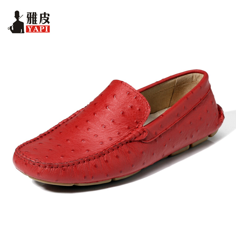 6 Colors TOP Soft Genuine Leather Ostrich Prints Mens Casual SLIP-ON Penny Loafer Lazy Man Driving Boat Shoes klywoo breathable men s casual leather boat shoes slip on penny loafers moccasin fashion casual shoes mens loafer driving shoes