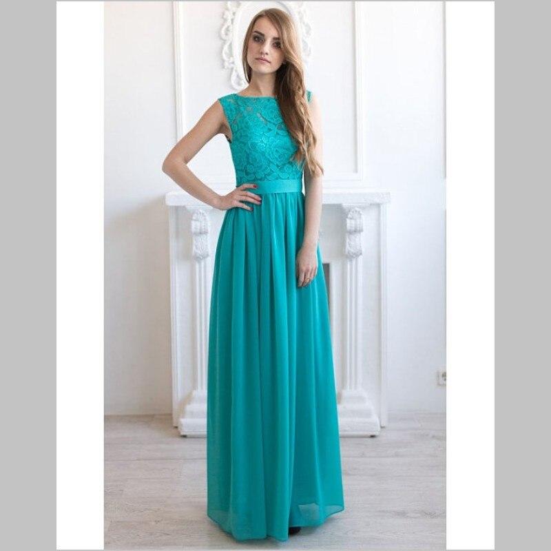 2017 Teal Blue Bridesmaid Dresses Long Sleeveless Jewel