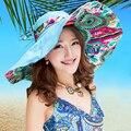 2016 Nova Impressão Retro Senhoras Mulheres Ampla Grande Brim Floppy Summer Beach Chapéu de Sol Chapéu/Cap Chapéu de Sol Palha B-2267