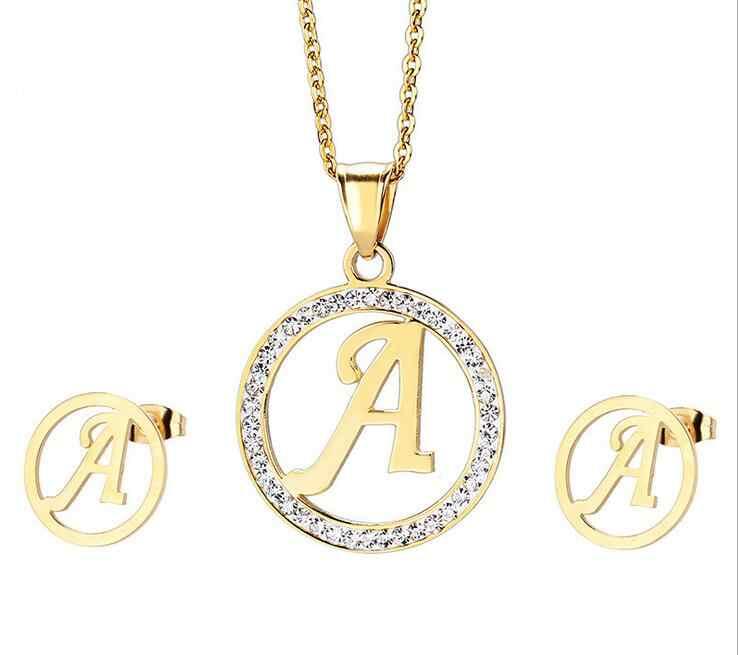 Lettera maiuscola A-E-J-M Collana Pendente e Orecchini Set In Acciaio Inox Oro Zircon Insiemi di Cristallo Per Le Donne Ragazze Regali
