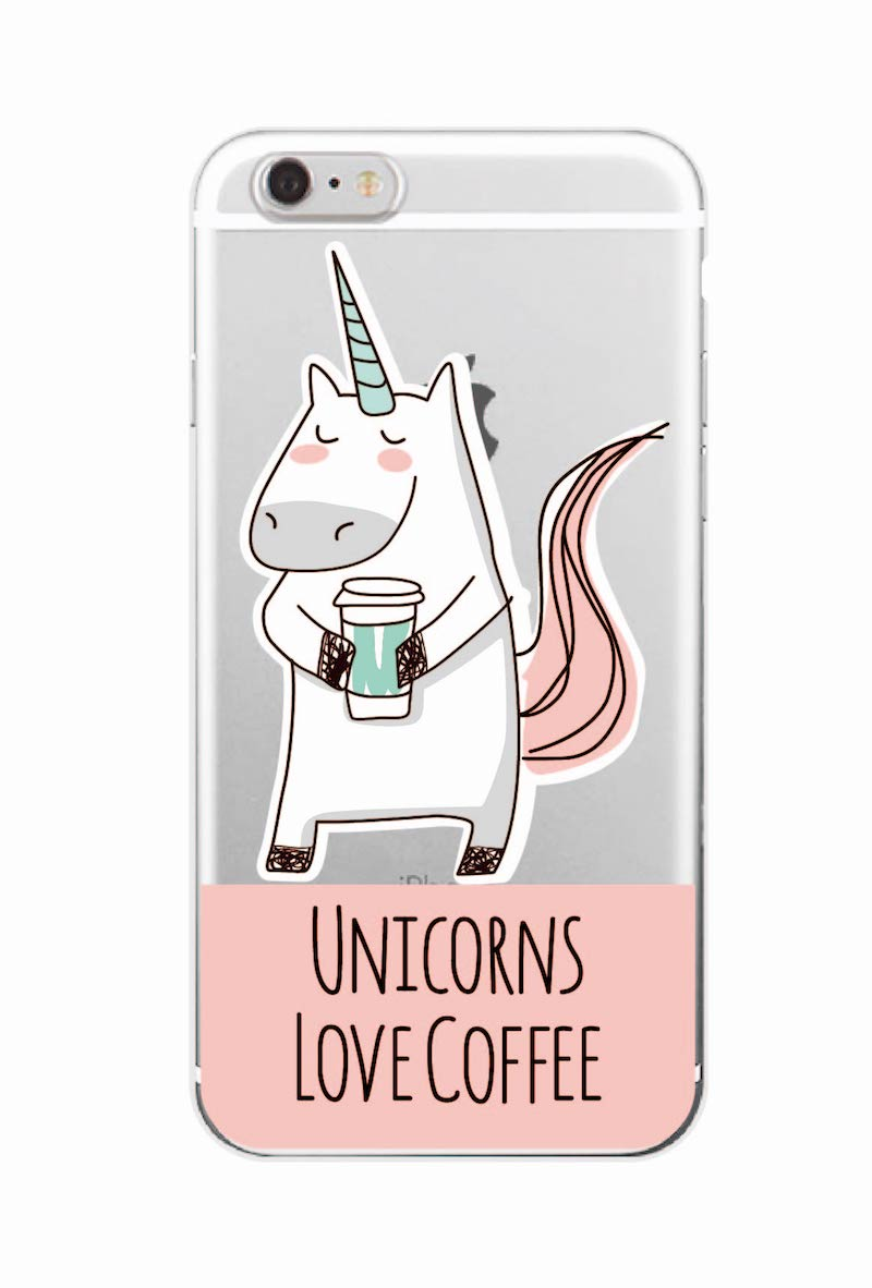 Cute Unicorn Rainbow Pizza Coffee Cartoon Quote Soft Clear Phone Case - Mobile Phone Accessories and Parts - Photo 4