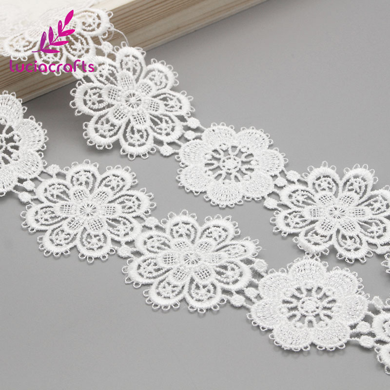 Lucia crafts 1yard/lot 5cm White Flower lace Embroidery Trim Ribbon DIY Wedding Sewing Garment Handmade Accessories N0506-in Lace from Home & Garden