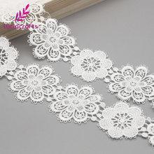 Lucia crafts 1yard/lot 5cm White Flower lace Embroidery Trim Ribbon DIY Wedding Sewing Garment Handmade Accessories N0506