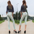 New Sexy Light Green Ice Silk See Through Pencil Pants Super Cropped Trousers Capris Nice Bottom Slim Hip Soft Legs Tights FX029