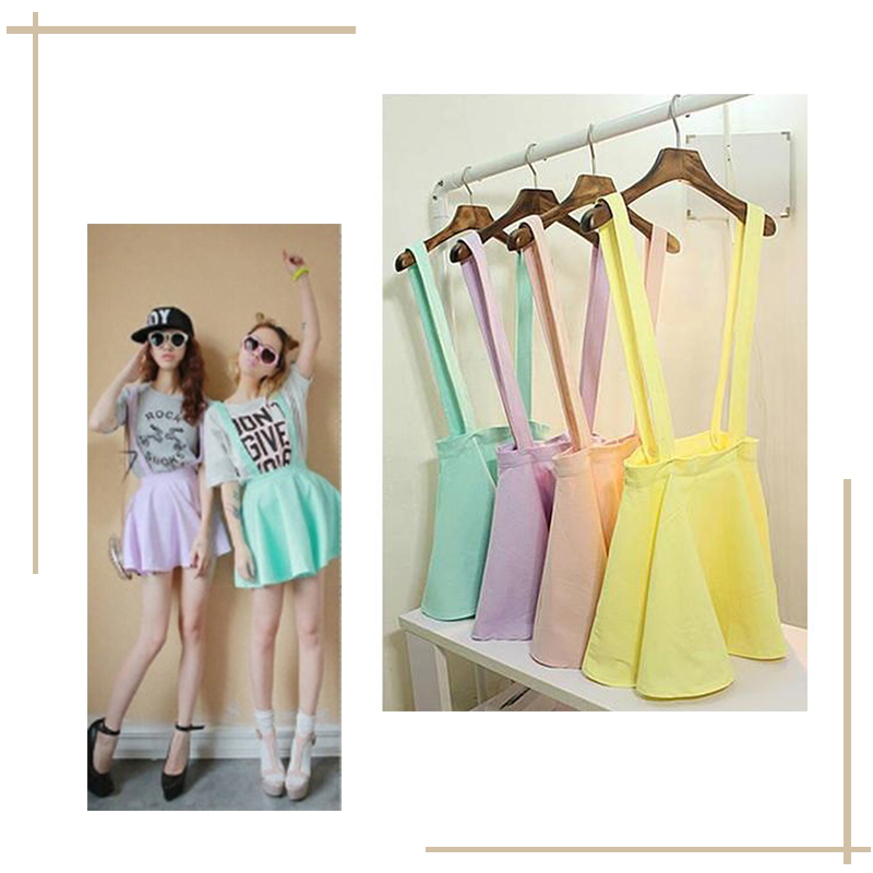 1X Women Skirt Skirt Color Womens Suspender Candy Girls Mini Skirt Summer Pleated