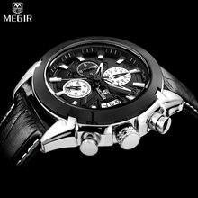 Megir хронограф luxury brand военные relogio натуральной кварцевые наручные кожи спортивные