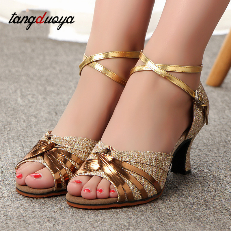 Tango Ballroom Latin Dance Shoes Woman High Heel For Wedding Shoes Gold Silver Shoes Women Zapatos De Baile Latino Mujer
