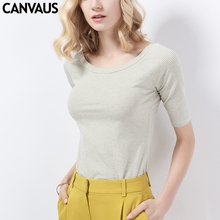 CANVAUS Summer Women Cotton Slim Striped Round Collar Short Sleeve T shirt Fashion Casual Office Lady
