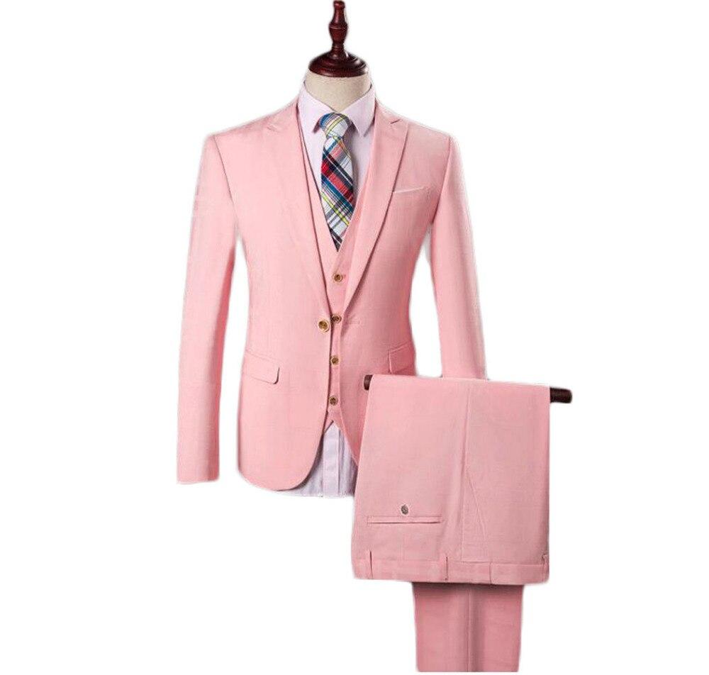 2016 Venta Caliente Barato Pink Plaid Trajes de Boda Mejor Hombre de ...
