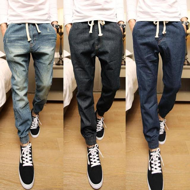 2016 hombres Joggers Colección Elegante Mediados de Cintura Con Cordón Mens Joggers Pantalones de Mezclilla Slim Fit Larga Hombres Harem Pantalones Retails caliente